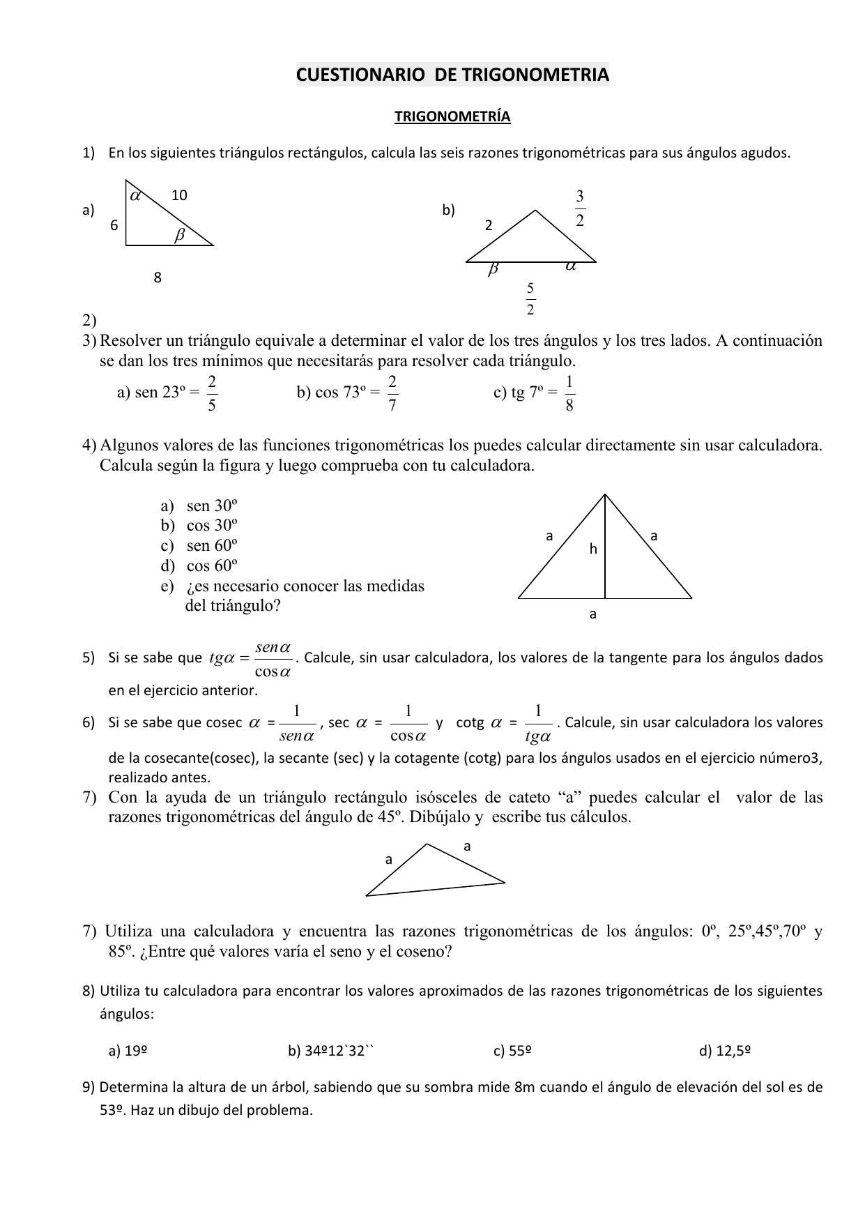 Cuestionario De Trigonometria