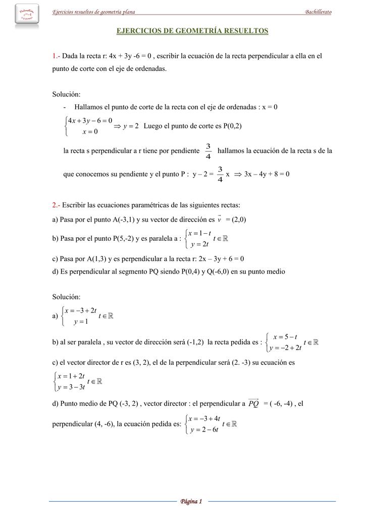Ejercicios De Geometría Resueltos 1