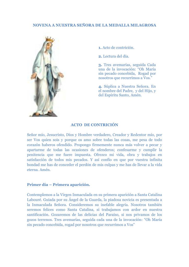Novena A Nuestra Señora De La Medalla Milagrosa 1